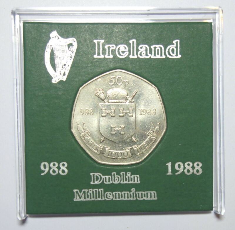 IRELAND: COMMEMORATIVE DUBLIN FIFTY PENCE COIN 1988 IN DISPLAY CASE