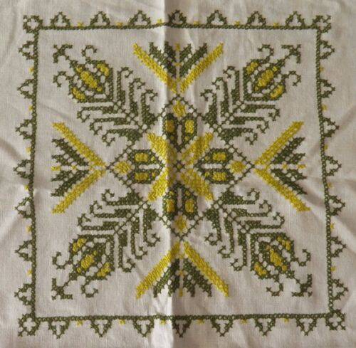 """Vintage Cross Stitch Embroidered Linen Tablecloth Green on Creamy White 49"""""""