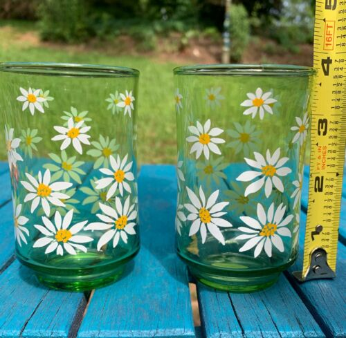 Libbey Vintage 1960's Daisy Juice Glass Set Green Glass 3 3/4 Tall Daisies 2