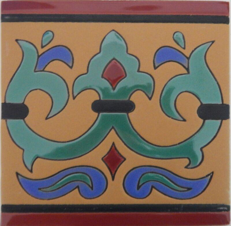 Mexican Tiles High Relief Ceramic Cuerda Seca Malibu Santa Barbara Tiles 6x6 603