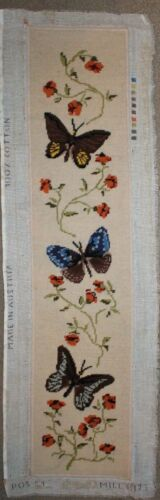 Vintage 3 Butterflies - Needlepoint Embroidery - Completed Finished Unframed