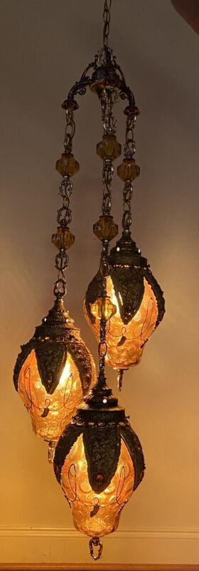 STUNNING Vintage Mid Century 3 Light Swag Lamp Chandelier HOLLYWOOD REGENCY