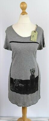 All Saints UK 6 T-shirt Tee Top Grey Cat Jaguar Rare Longline...