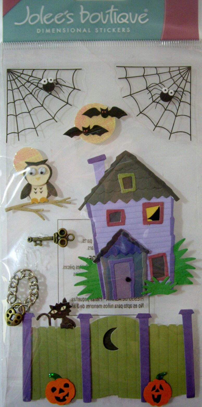 NEW 8 pc LOCK & KEY Halloween Haunted House Gate Black Cat 3D Stickers JOLEE'S