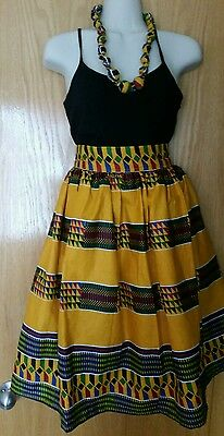 New Kente African Unique Print Mid Skirt w/Two Pocket, Necklace & Earring Sz L