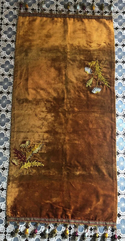 Antique Velvet With Silk Applique & Tossels Piano Scarf Table Runner Circa 1800