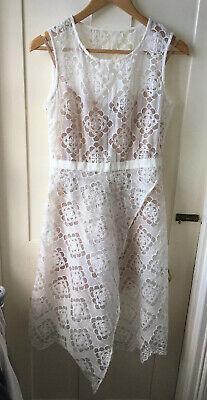 BNWT jovonna london Ivory Lace Dress With Nude Underslip Size 10