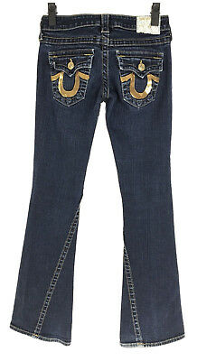 True Religion Joey Jeans Womens Size 25 x 32 Inseam Gold Sequin Pockets Flare