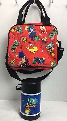 Pirate Themed Kids Lunch Bag Tote Thermos Zip Ships Skull Whale Red Yellow