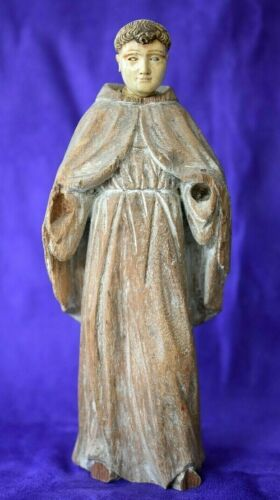Fine Antique Glass Eyes Hand Carved Wood Colonial Dieppe Monk Padre Santo Saint