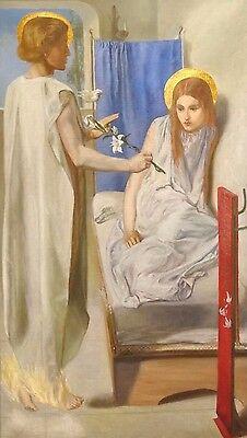 Large 19th Century Pre-Raphaelite Annunciation Virgin Girl Oil Painting ROSSETTI