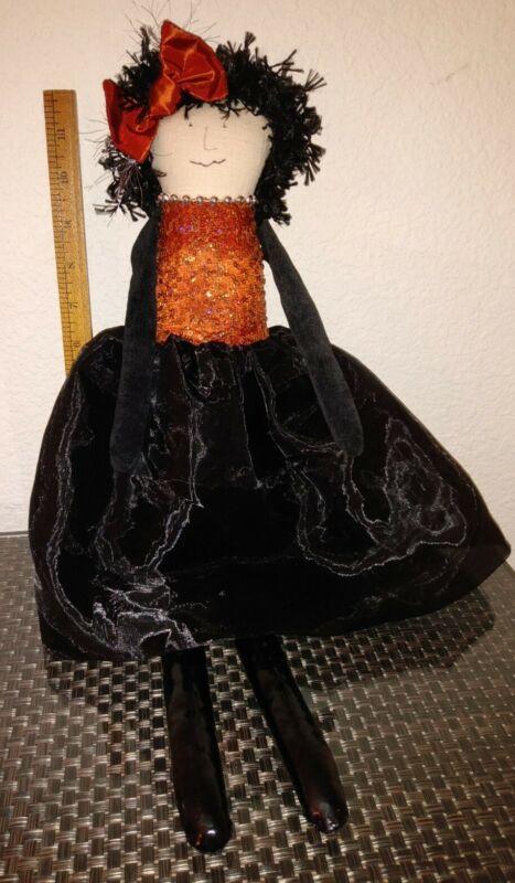 "2011 Woof & Poof Halloween Girl Doll 22"" Bow Black Skirt Shiny Legs Sequin Top"