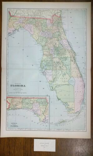 Vintage 1900 FLORIDA Map 14x22  Old Antique Original TALLAHASSEE KEY WEST