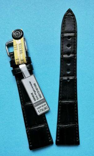 Uhrenarmband, Louisiana Krokoband für Patek 19/14 mm schwarz matt