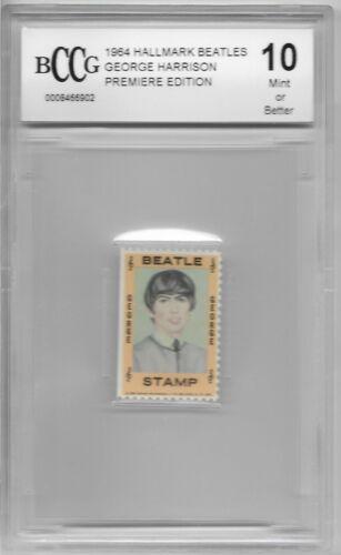 1964 PREMIERE GEORGE HARRISON BECKETT BCCG 10 GRADED STAMP BEATLES VINTAGE FAB 4