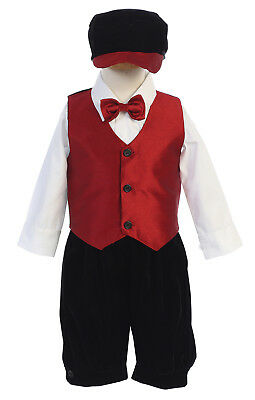 New Baby Toddler Kids Boys Black Knickers Red Vest Vintage Suit Outfit Christmas