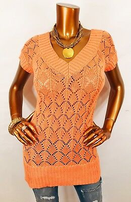 - Cache M Top Crochet Sweater Stretch Golden Shiny Ribbed V Neck Orange Short Slvs