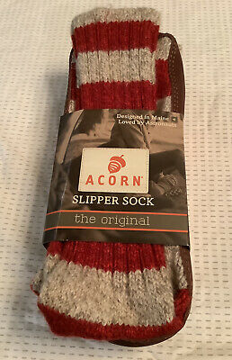 NEW Acorn Unisex The Original Slipper Socks Red Striped Size Small W 8-9