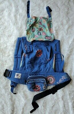 Ergo Baby Organic Baby Carrier Floral Blue Boys Girls Unisex Used