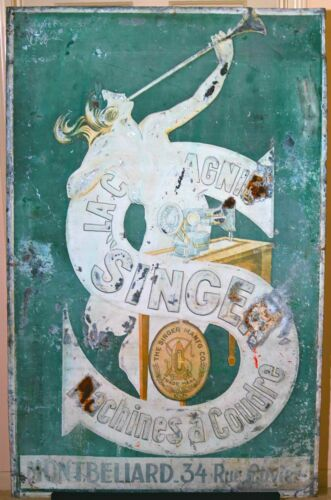Singer Sewing Machine Metal Advertising Sign France by Leonetto Cappiello