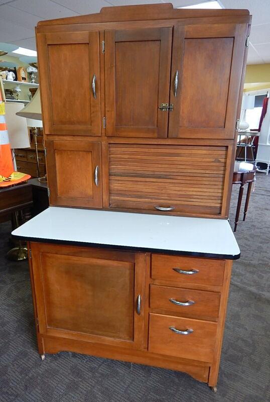 1940s Maple Kitchen Hoosier Cabinet Pantry Cupboard