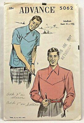 1940s Men's Shirts, Sweaters, Vests 1940s Vtg Advance Sewing Pattern 5062 Mens Shirt 2 Sleeves Sz 15-15.5 Neck 9326 $39.99 AT vintagedancer.com