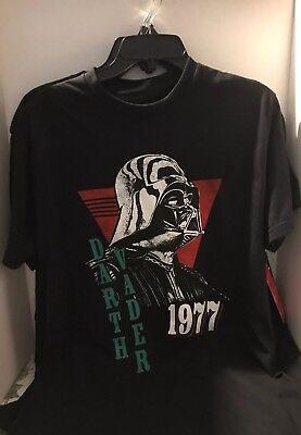 DARTH VADER 1977 T-SHIRT Star Wars Vtg-Look Retro Black Cotton Mens Medium 1977 Mens Retro T-shirt