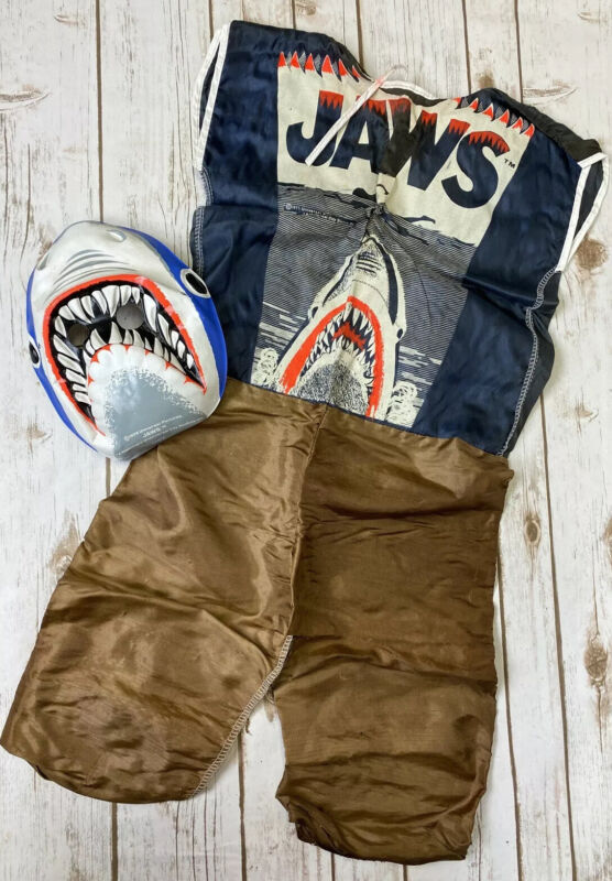 Vintage 1975 Collegeville Costume JAWS Movie Shark Mask Outfit - Plz Read