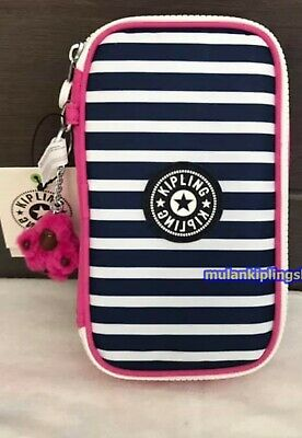 Kipling 50 Pens Pencil Case- Superb stripe Pink MX.