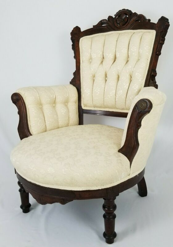 Antique Eastlake Victorian Carved Parlor Chair Armchair Walnut Slipper Boudoir