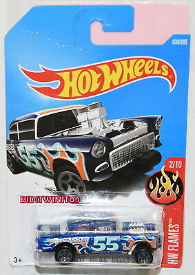 HOT WHEELS 2016 HW FLAMES ''55 CHEVY BEL AIR GASSER BLUE
