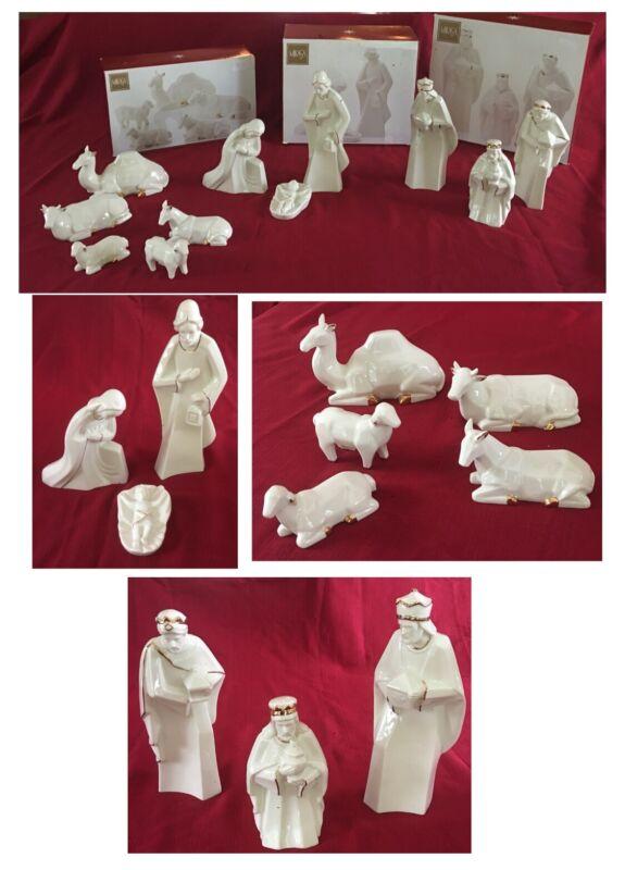 "VINTAGE Mikasa Nativity Figurines 10.5"" Tall HOLY NIGHT  Ivory Gold 11-Piece Set"