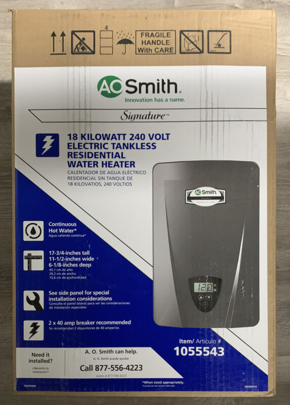 AO  SMITH 18 KW 240V ELECTRIC TANKLESS RESIDENTIAL WATER HEATER