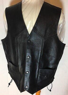 Ultimate Riding Innovations Black LEATHER Biker Side Lace Vest size XL Ultimate Leather Vest