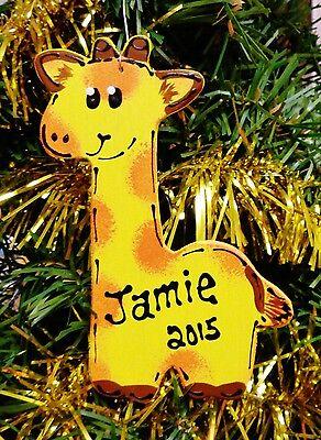 GIRAFFE Christmas ORNAMENT Personalize U CHOOSE NAME & YEAR  Jungle Safari Zoo