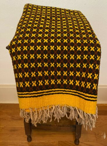 """Large Vintage Mexican Hand Woven Wool Throw Horse Picnic Blanket  - 55.5"""" x 84"""""""