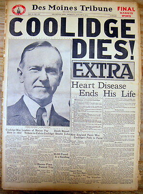 BEST 1933 display NEWSPAPER EXTRA President CALVIN COOLIDGE DEAD Northampton MA