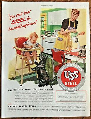 U.S.S. steel print ad 1946 original vintage 1940s illustration art kitchen