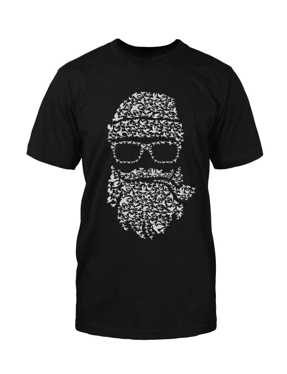 Birds Beard T-Shirt Neu Fun Lustig Hipster Blogger Nerd Bart Style Funny Retro