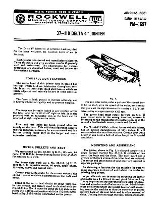 Rockwell Delta 37-110 4 Jointer Instruction Operator Maint Manual Pm-1697