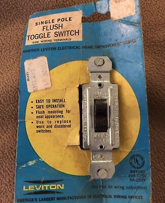 Vintage Leviton Single Pole Flush Toggle Switch