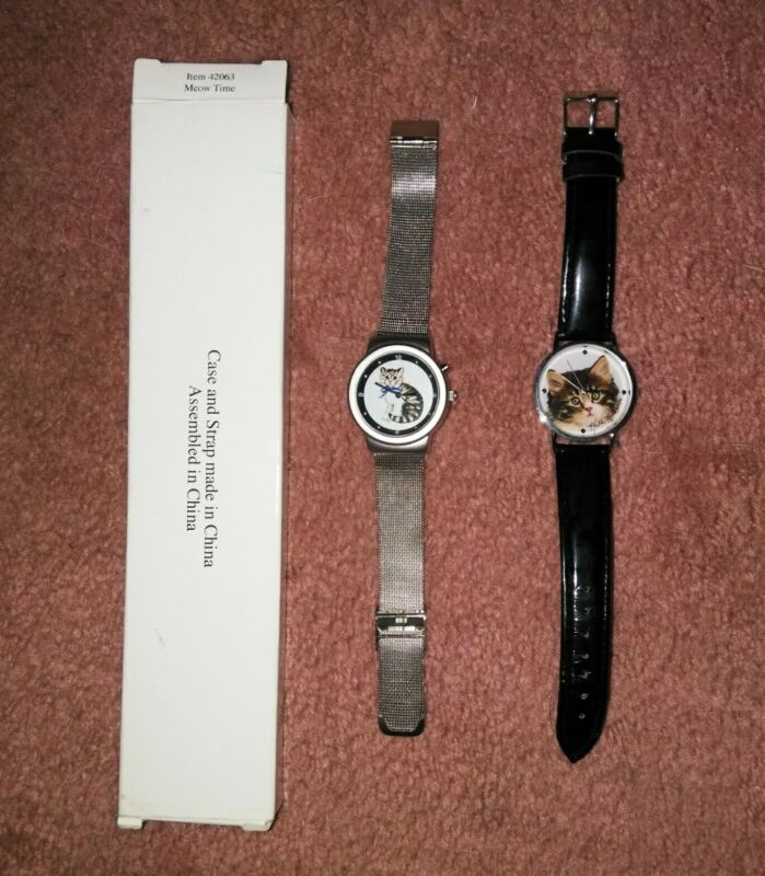 Lot Of 2 Vintage Kitten/Cat Watches NEW