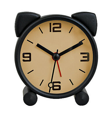 Neko Cat Alarm Clock Snooze Black Cute Table Shelf Desk Mantel Bedroom Decor