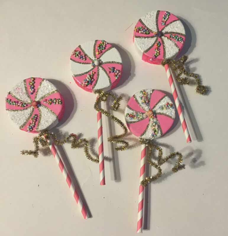 """4x Handmade LOLLIPOP Christmas Ornaments 7"""" Long Pink Candy Sprinkles NEW Sealed"""