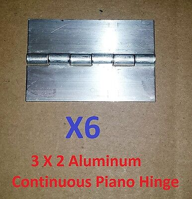 6 pc .062 Aluminum Continuous Piano Hinge 3 x 2 Cabinet Door Boat Craft DIY Weld