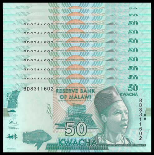 MALAWI 50 KWACHA 2016 P 64 UNC (10 PCS)