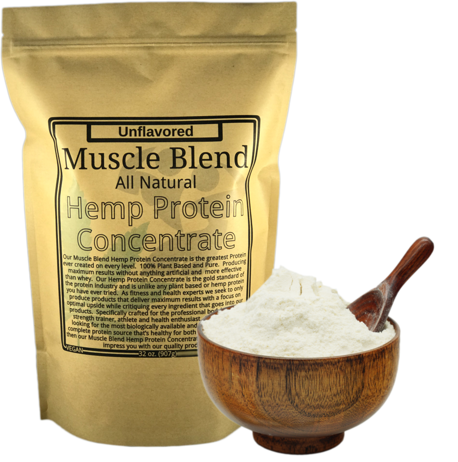 Muscle Blend Hemp Protein Concentrate 32 oz Zipper Pouch, All Natural, Vegan
