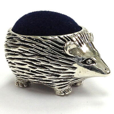 EDWARDIAN STYLE HEDGEHOG PIN CUSHION BLUE VELVET SOLID STERLING SILVER 925