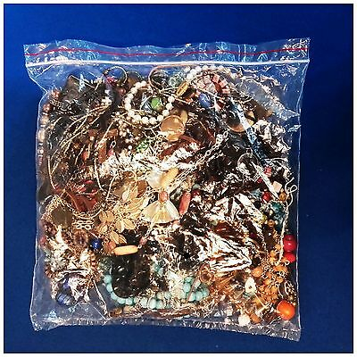 1kg Bag Various Costume Jewellery Assorted Mixed Lot Craft Making Multi Coloured