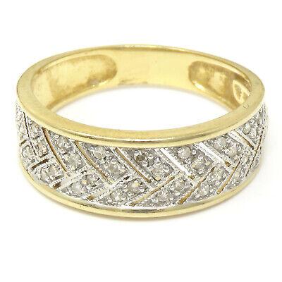 NYJEWEL 14k Two Tone Gold 8mm Wide 0.3ct Diamond Band Ring Size 7.5 14k Two Tone Diamond Band